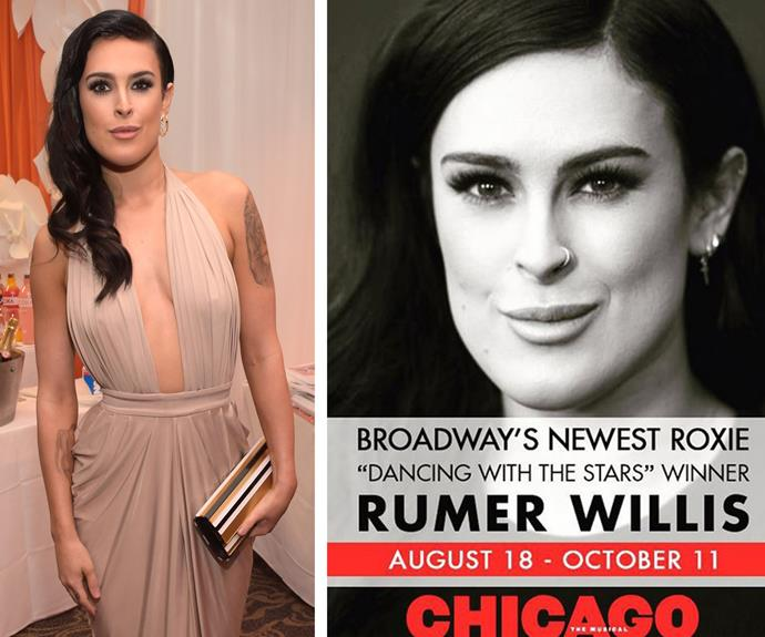 The name on everybody's lips is gonna be Rumer Willis. The 26-year-old has been announced as the new Roxie Hart on Broadway's CHICAGO.