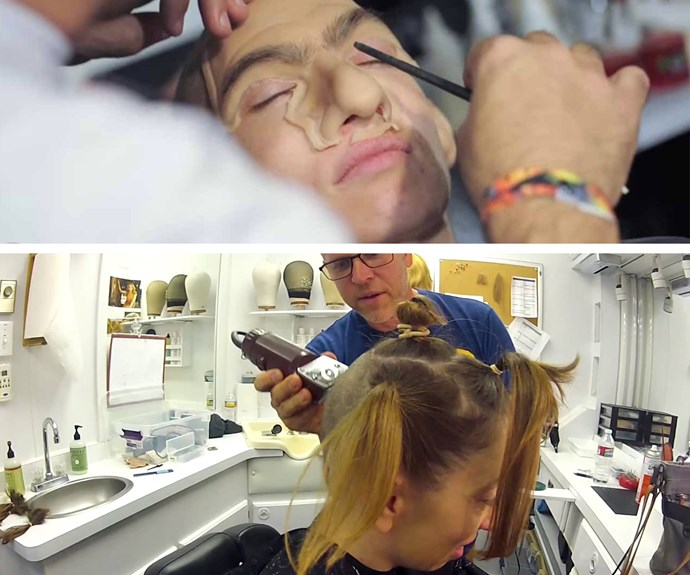 """""""I wasn't anxious to have my head shaved, by any means, but now that I've done it, it's not really a big deal,"""" the actress, pictured getting lengthy prosthetics for her chatterer attached, said proudly."""