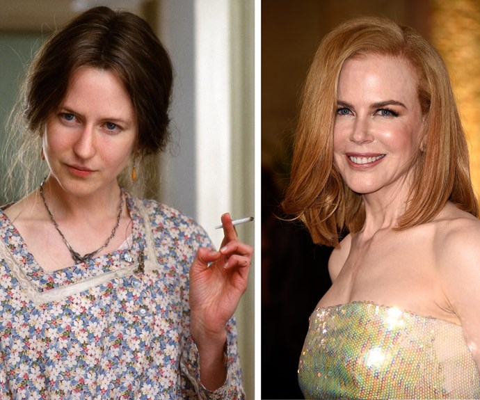 """Nicole Kidman underwent a massive transformation for her role as Virginia Woolf, in *The Hours*. The makeup took three hours daily and relied heavily on a large prosthetic nose - something the Aussie actress loved! """"I did enjoy being anonymous,"""" the star admitted during the press junket of the film. """"It was fun to be able to go out of my trailer and not have anyone know me."""""""
