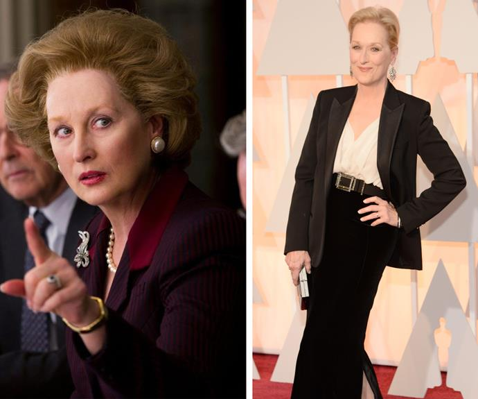 "Meryl Streep embodied infamous former British Prime Minister Margaret Thatcher for her role in *The Iron Lady*. Describing the the role as ""grueling"" it won her an Oscar (29 years after her first win) with the film also winning the Academy Award for Best Makeup and the BAFTA Award for Best Makeup and Hair."