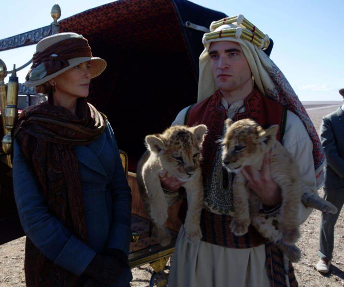 Nicole Kidman with her co-star Robert Pattinson in the highly anticipated film, *The Queen of the Desert*.