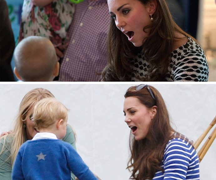 Prince George - making Catherine laugh since 2013.