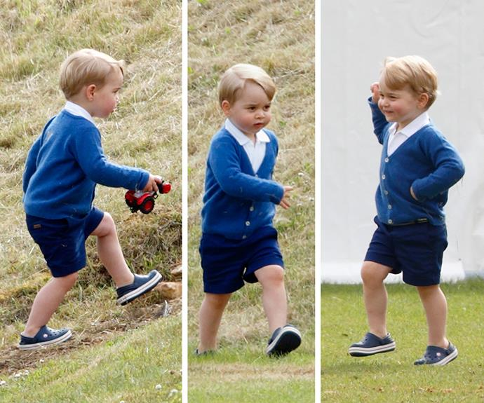 """Right, left, right!"" Wills admitted that Prince George ""never stops moving."""