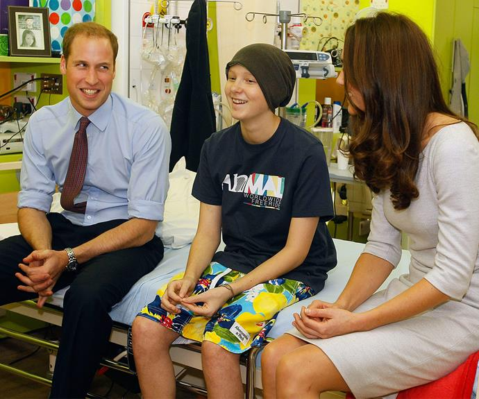 William and Catherine, pictured chatting to a patient in 2012, have truly embraced Diana's charitable efforts.