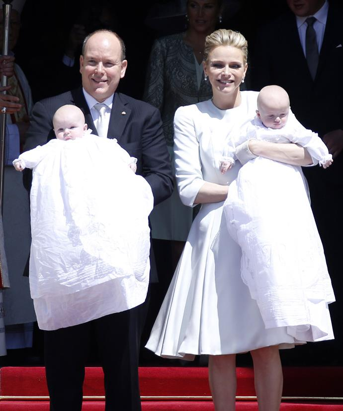 Jazmin's half siblings Jacques and Gabriella at their christening with her dad Prince Albert and his wife Princess Charlene.