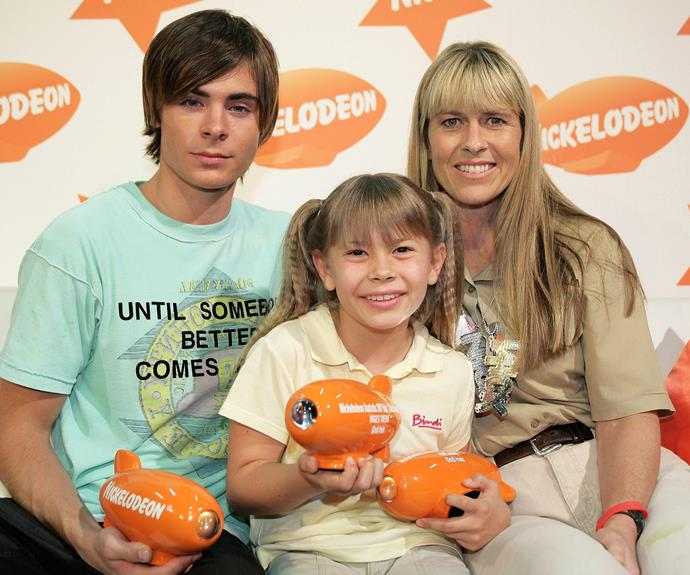 Bindi is all smiles with her mum and Zac Efron at the Nickelodeon Kids' Choice Awards.