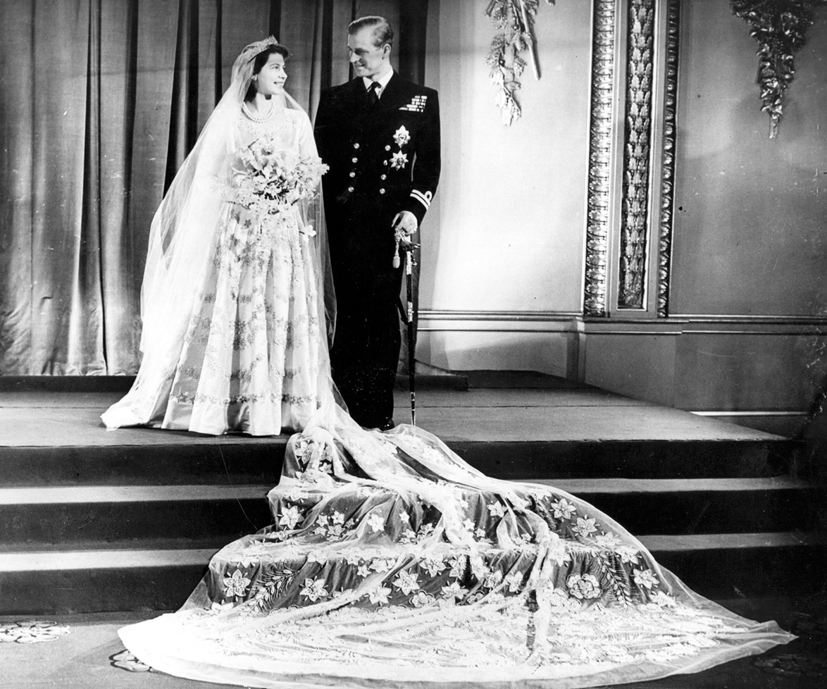 Eyes only for each other: There is something spectacularly magical about the love shared between the Queen and her husband. Tying the knot on 20 November, 1947, a then Princess Elizabeth looked beautiful in a white satin wedding gown, which was created by the royal family's designer, Norman Hartnell.