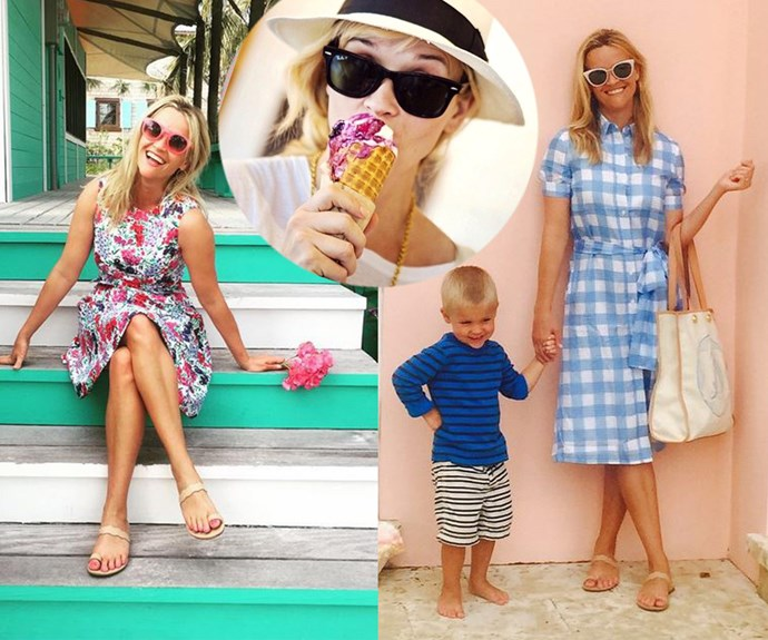 The Oscar-winning southern-belle knows how to do summer! The 39-year-old has a collection of bright sun dresses and the obligatory ice-cream pose all down pat.