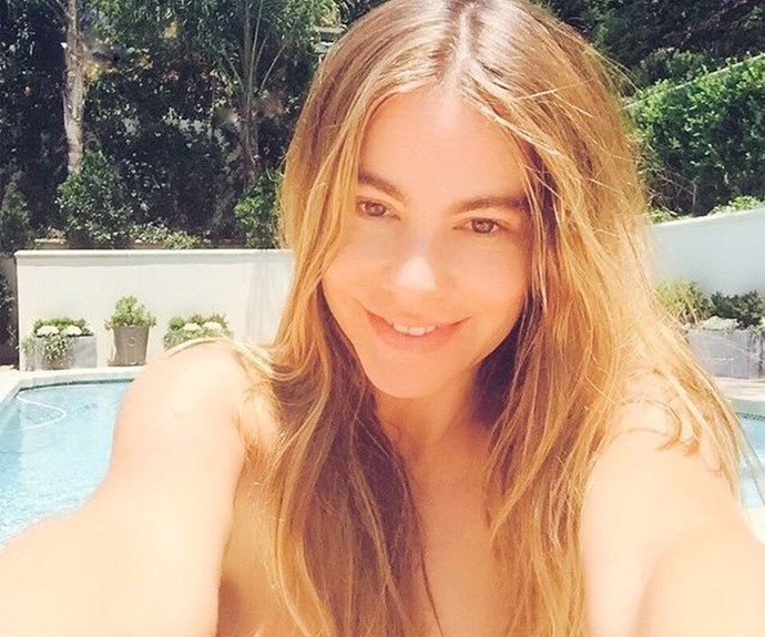 A stunning make-up free Sofia Vergara catches a little sun before she jets off to Mexico! #ToughLife.