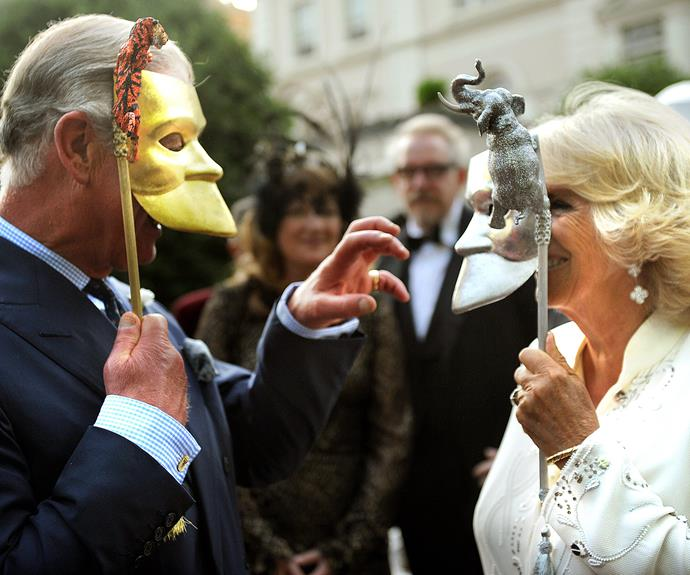 """I am slightly anxious about this thing, I can't see a thing,"" the father-of-two first remarked upon donning his mask at a charity bash for the Elephant Family held at Clarence House in 2013. But it looks like the future King of England eventually got the hang of it."