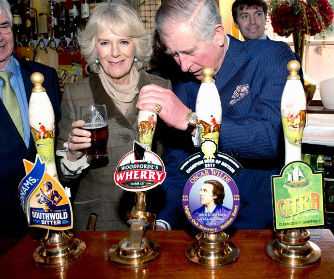 Not even the future King of England and his wife are too posh for a cheeky pint or two. The 66-year-old takes matters into his own hands and gets behind the bar to pour his own brew #SpiritAnimal.