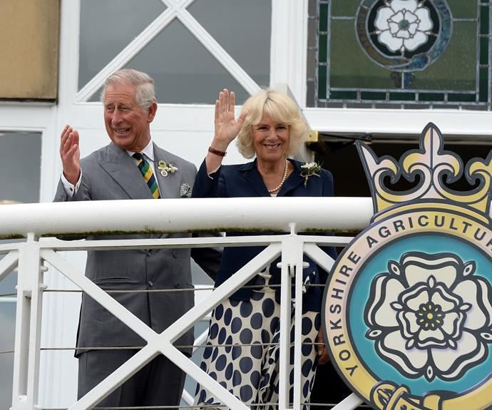 Have you ever seen a more smiley husband and wife? The pair give their best royal waves at The Great Yorkshire Showground in July.