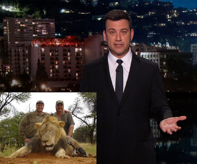 Talk show host Jimmy Kimmel was visibly upset over the heinous act that was allegedly committed by American dentist, Walter Palmer (inset, with a dead lion from a past hunting trip). The usually upbeat funnyman dedicated his monologue to Cecil, the lion. **Watch Jimmy Kimmel's impassioned speech in the video player above.**