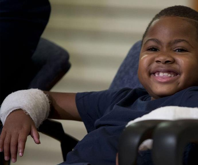 Eight-year-old Zion Harvey couldn't wipe that smile of his face! The amazing little boy was ecstatic with his functioning new hands.