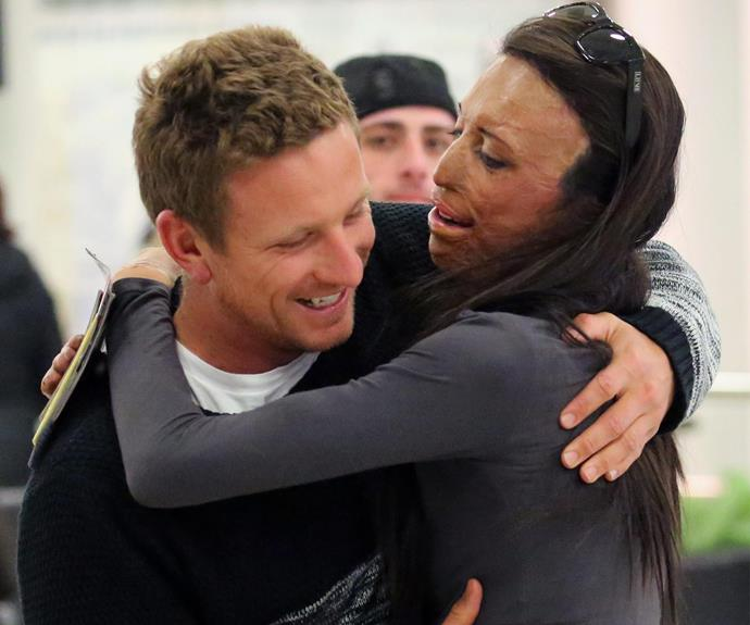 Turia Pitt was finally reunited with her long-time beau, Michael Hoskin after spending the last 10 days trekking the Inca trail for charity.