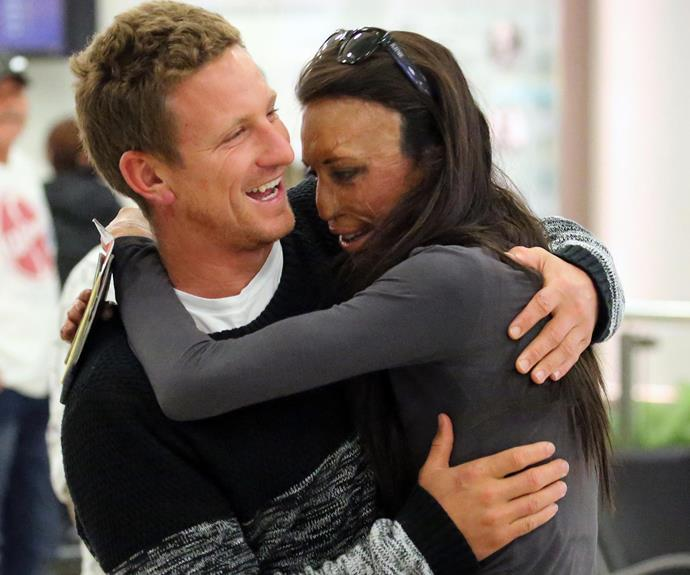 But not without another cuddle! The inspirational burns survivor was overjoyed to be reunited with her husband-to-be and the pair shared a passionate embrace at the terminal.