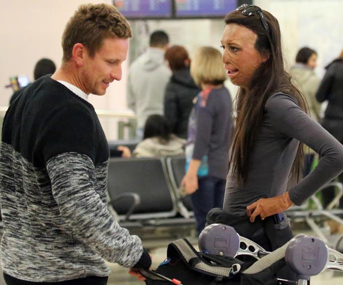 Always the gentlemen, Michael helps out with Turia's luggage.