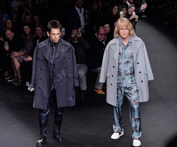 Famously, Ben Stiller and Owen Wilson (AKA Derek and Hansel) announced Zoolander 2 at Valentino's runway show during Paris Fashion Week in March.