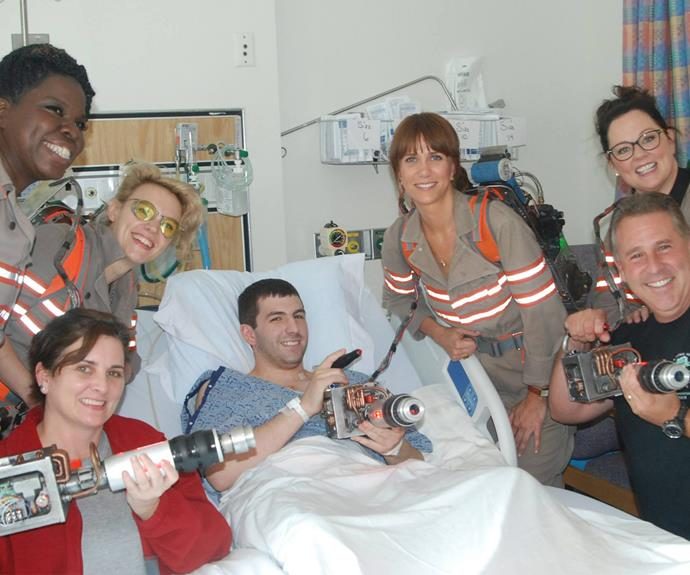 The cast of the new Ghostbusters reboot, Melissa McCarthy, Kristen Wiig, Kate McKinnon and Leslie Jones  dropped in to visit the kids at Tufts Medical Center.