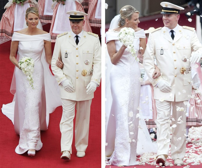Prince Albert of Monaco kept his Hollywood heritage alive when he married South African swimmer Charlene Wittstock in 2011. She was the embodiment of opulence, opting to wear an Armani creation for her nuptials. The dress took 2,500 hours to create and was covered in 40,000 Swarovski crystals, 20,000 mother of pearl teardrops and 40,000 gold beads.