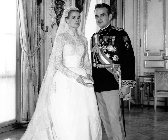 "When two worlds collide: Before the British royals, there were the Monaco royals. Grace Kelly's 1956 wedding to Prince Rainier III of Monaco was televised to an estimated $30 million and dubbed ""the wedding of the century"". The Hollywood star traded in her acting crown for a governing one when she tied the knot, after meeting the Prince at Cannes Film Festival. The blushing bride wore a Helen Rose design."