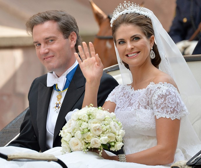 A family that have all married for love! Carl and Victoria's elder sister, Sweden's Princess Madeleine married British businessman Christopher O'Neill at the Chapel Royal at the Royal Palace in Stockholm in June 2013. The bride looked stunning as she chose a traditional silk organza gown by Valentino.