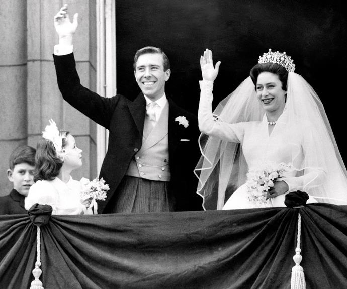 Queen Elizabeth II's sister Princess Margaret also wore a Norman Hartnell design for her 1960 wedding to Antony Armstrong-Jones.