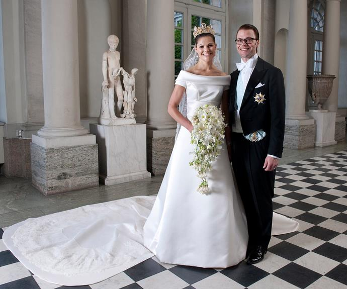 The Princess looked majestic in a white duchesse satin gown with a 16ft train by Par Engsheden at her 2010 wedding at Stockholm Cathedral.