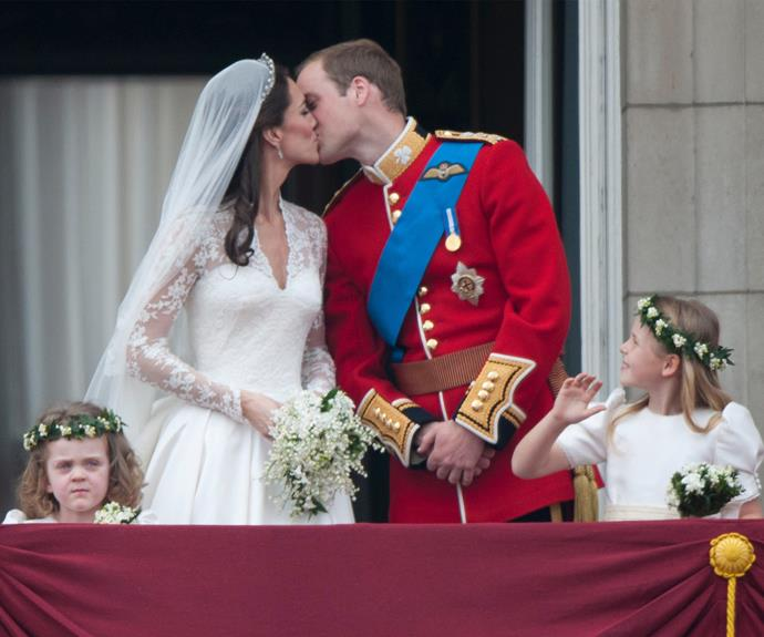 "Sealed with a kiss! The couple couldn't have looked happier as they professed their eternal love in front of the world. It does seems that young [Grace van Cutsem](http://www.nowtolove.com.au/royals/british-royal-family/prince-william-and-catherines-flower-girl-is-grown-up-19806|target=""_blank"") (left) wasn't feeling the love quite as much as the newlyweds."