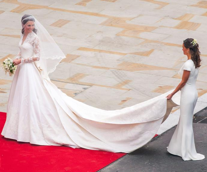 "Her sister Pippa Middleton, [who tied the knot on May 20 last year,](https://www.nowtolove.com.au/royals/british-royal-family/pippa-middleton-marries-james-matthews-37442|target=""_blank"") was enchanting as her maid-of-honour. Catherine was the embodiment of a Princess bride, looking magnificent in McQueen."