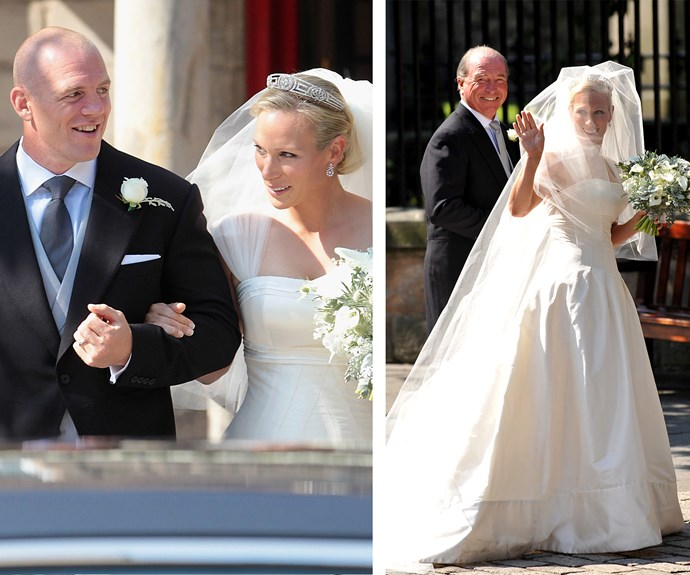 "[Zara Phillips](https://www.nowtolove.com.au/tags/zara-phillips|target=""_blank"") channelled an English rose when she married former England rugby player Mike Tindall in July 2011. The royal wore an ivory silk faille dress by Stewart Parvin."