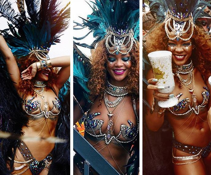 Rihanna is giving us a major case of #SummerGoals. The Barbadian beauty is back home for Barbados' annual Kadooment Day parade. This babe knows how to party!