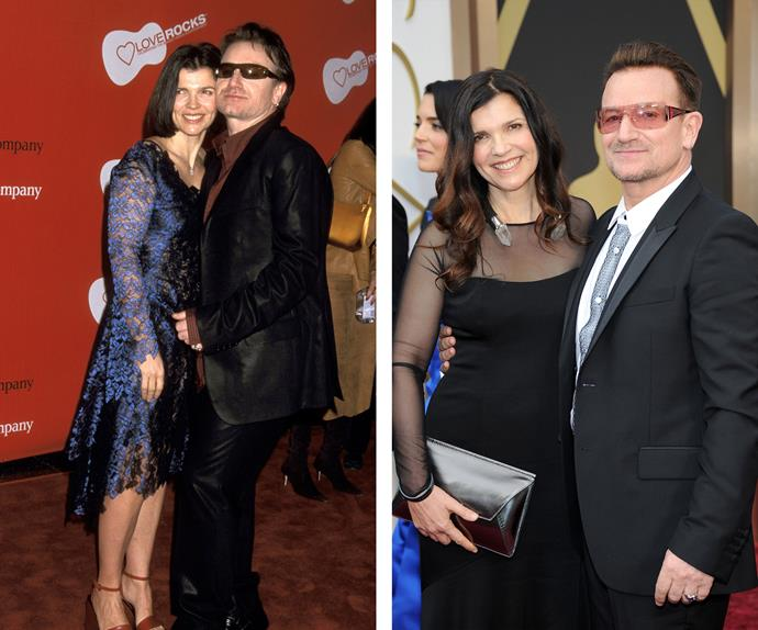"They'll be celebrating 34 years of marriage on August 21 but for Bono and Ali Hewson, pictured here in 2002 (L) and 2014 (R), it's all about the humour. ""She's a very independent, smart kind of girl, who, I think, sees me as a figure of amusement. Most of the time, I enjoy her company,"" the Irishman revealed to *The Sun*."
