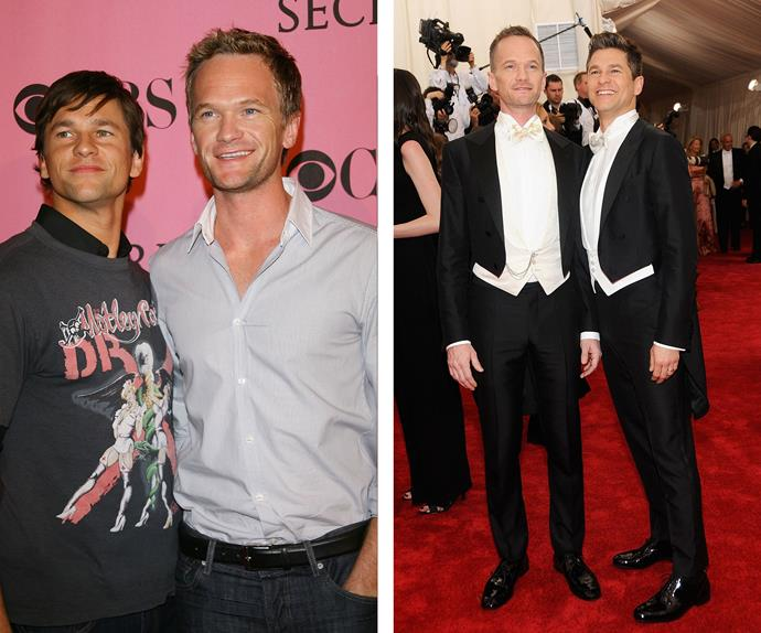 "Despite beginning their relationship in 2004, Neil Patrick Harris and David Burtka, who are pictured here at their first appearance as a couple in 2007 (L), came out as an item in 2006. In his autobiography the *How I Met Your Mother* star wrote about his husband: ""It's natural. It's familiar. It's as cosy as an old shoe. You've met the right man, and luckily you've done so at the right time."""