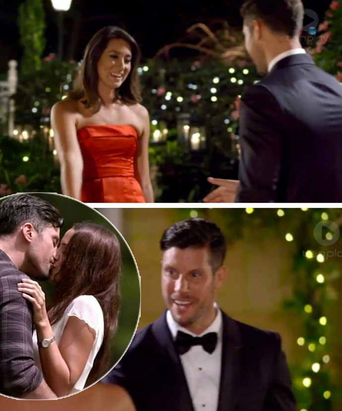 The SUPER awkward moment when Bec meet her former flame on the dating show... Sorry Snezana! It looks like Bec bagged the first smooch a year ago.