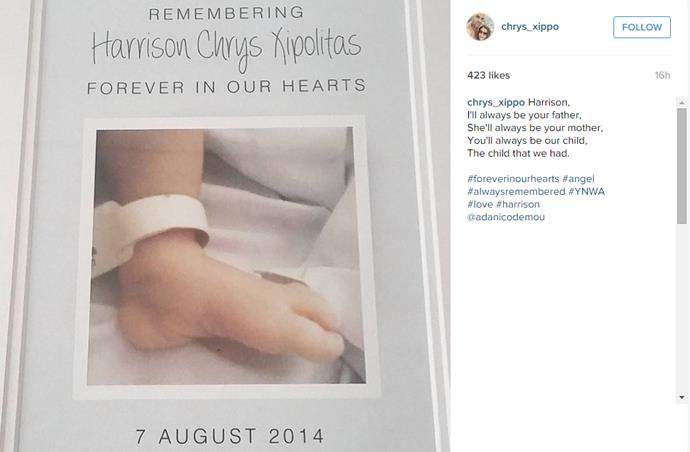 Chry's heartbreaking tribute, remembering his darling boy.