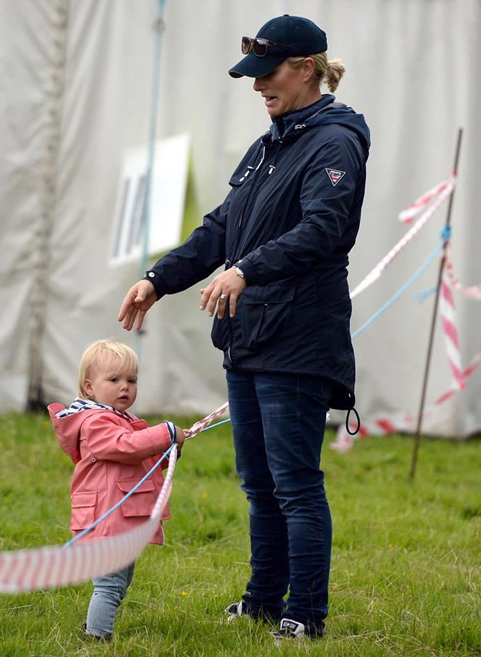 Just a few days earlier, the blonde bub and Zara were spotted at day one of the Festival of British Eventing at Gatcombe Park in Gloucestershire.