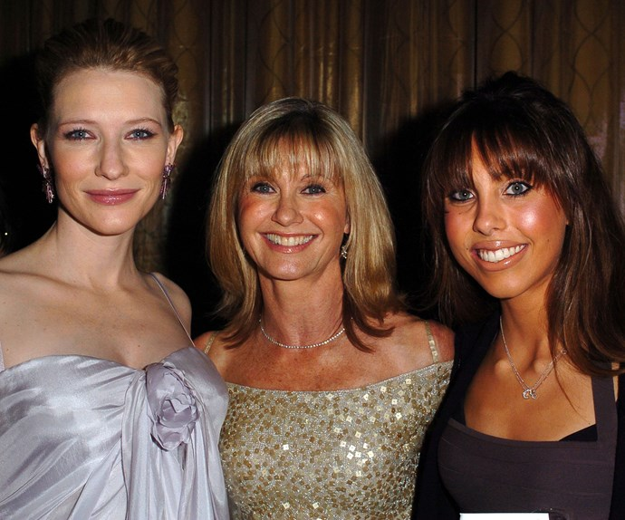 Famous friends! Cate Blanchett hanging out with mother-daughter duo Olivia Newton-John and Chloe Lattanzi at a dinner honouring Aussies in entertainment in 2004.