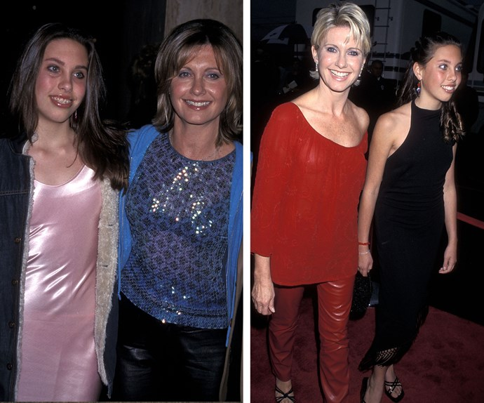 In 2001(L) and 2000 (L) Chloe, whose father is Olivia Newton-John's ex Matt Lattanzi, was growing into a beautiful young woman.