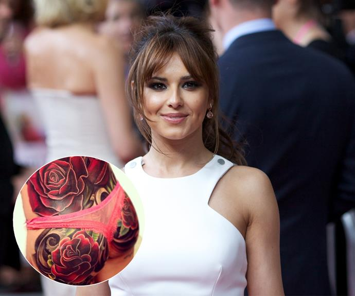 "It's go hard or go home, according to Cheryl Fernandez-Versini aka Cheryl Cole, she ticked ""get a tattoo"" off her bucket list - in a big way thanks to this intricate floral design which covers her lower back and er, backside!"