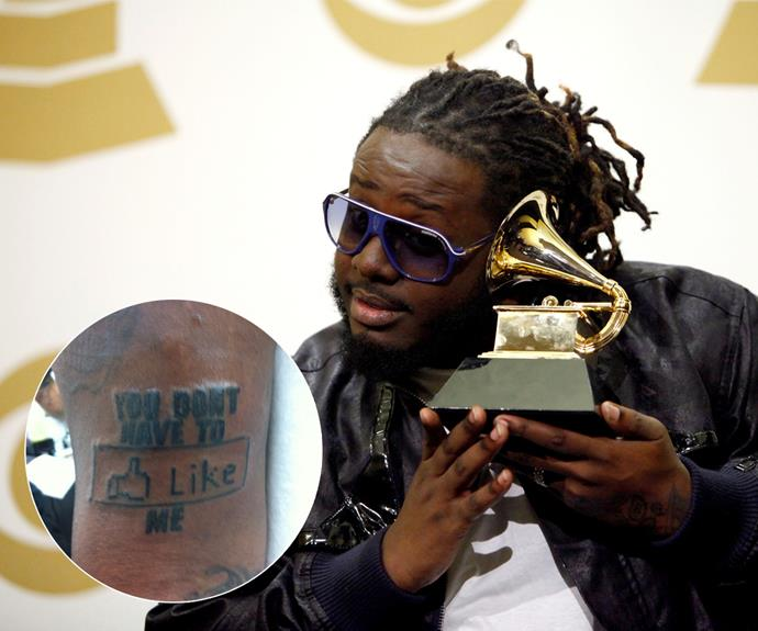 "According to rapper, T-Pain, he ""gets a tattoo every time he goes to Hawaii"". He might have to explain this Facebook-inspired one to his grandkids, though."