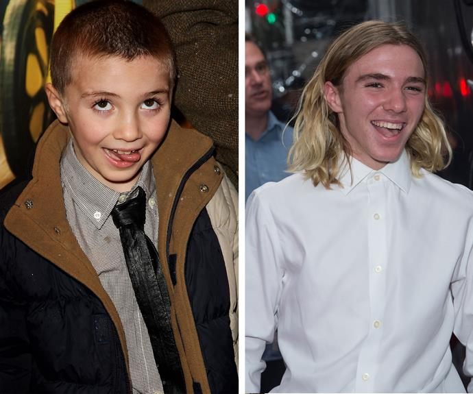 In 2007 Rocco was the cheeky little boy on the red carpet (L) but at the premiere of his dad's new film *U.N.C.L.E.* in New York on Monday, the 15-year-old looked very grown up.