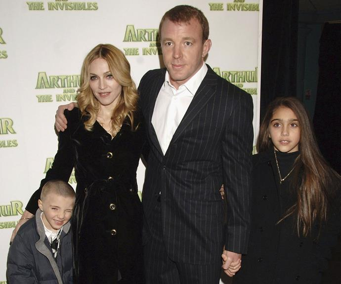 During Madge and Guy's marriage, Rocco was a red carpet regular. Here he's pictured with big sis Lourdes and his loving parents at the 2007 premiere of *Fred Claus*.