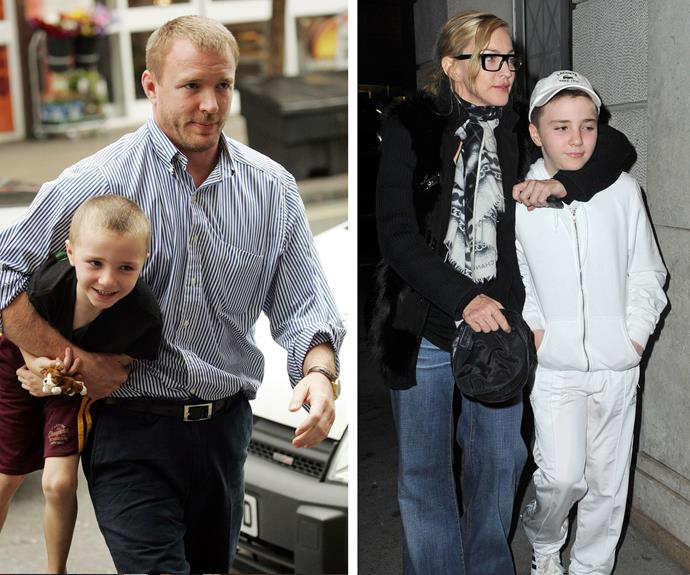 He doesn't look like this anymore! Pictured (L) with his dad on Rocco's 6th birthday and in 2012 (R) with his mum on the streets of New York City.