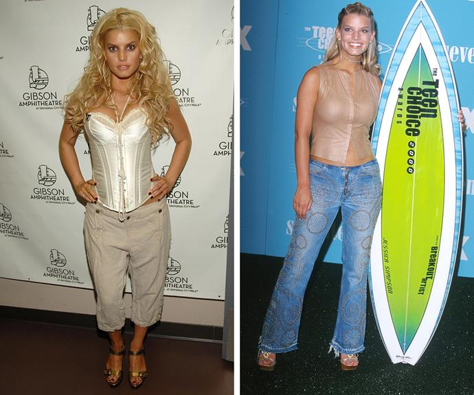Which gets your vote - Jessica Simpson's cargo pants and corset in 2006, or leather zip-up top with embellished jeans in 2000? We're leaning towards the latter.