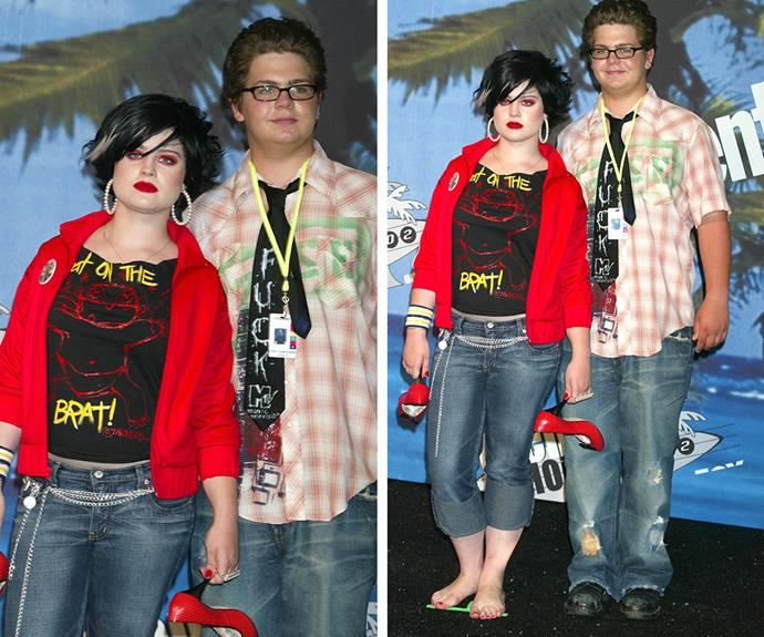 """Kelly Osbourne, is that you? The singer and host looked pretty different back in 2002 - we think the """"barefoot on the red carpet"""" thing had something to do with it."""