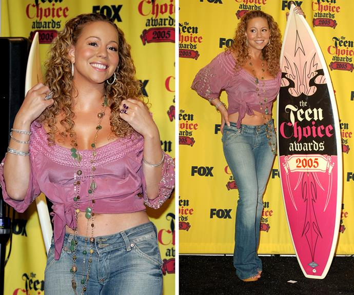 Bootcut jeans, peasant top and cornrows? No one did  2005 like Mariah Carey.