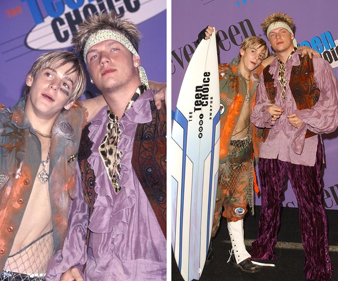 We're not sure what to call these looks by heartthrob brothers, Nick and Aaron Carter in 2001... pirate chic? Vagabonds from the Seventies? Austin Powers-turned-hippie? We'll let you decide.