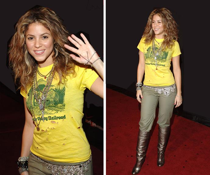 Shakira showed off her fun side in a vintage tee, army pants tucked into gold boots and an embellished belt at the 2005 TCAs.