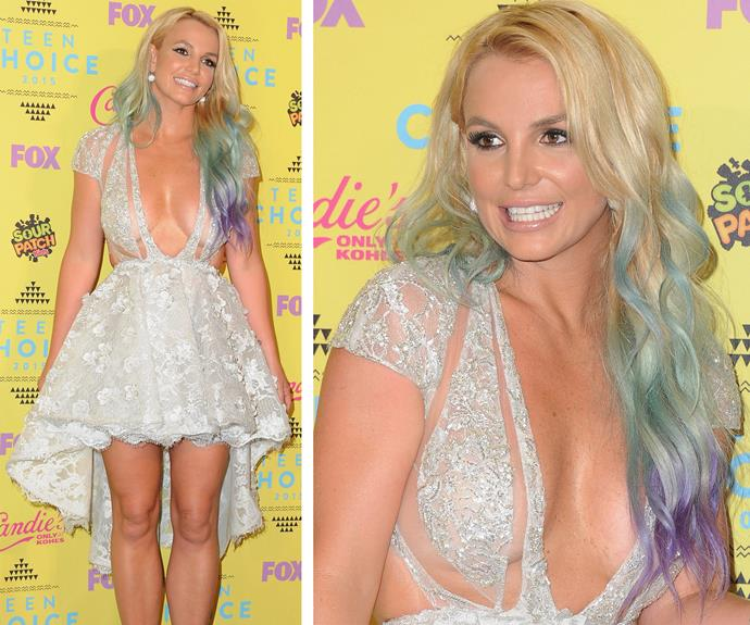 Britney Spears was channelling a fairy princess when she walked the red carpet for the 2015 Teen Choice Awards this week. We adore her pixie dream inspired rainbow ombre. The subtle pastel colours look spectacular against her blonde locks.